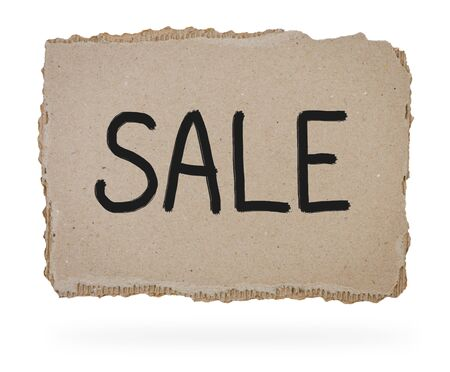 goffer: Sale ​​marker written on piece of cardboard. Stock Photo