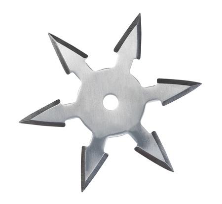 ninja weapons: Throwing star ninja Shuriken isolated on white background. Stock Photo