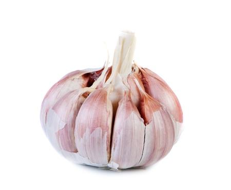 alliaceae: Garlic isolated on white background close-up. Stock Photo