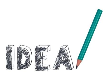 Idea word 3D drawn pencil.