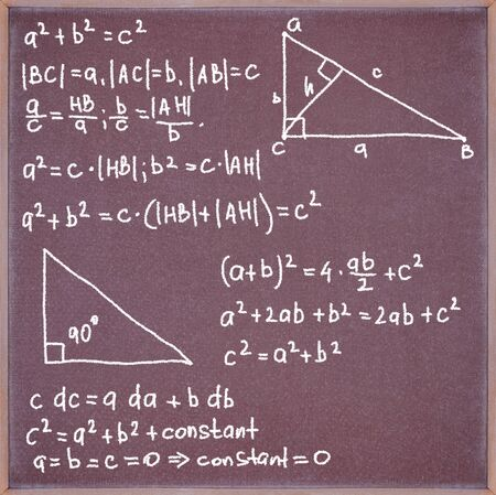 equations: Blackboard with chalk written formulas and equations.