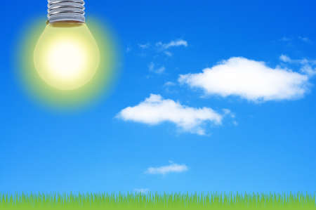 instead: Light bulb instead of sun energy concept. Stock Photo
