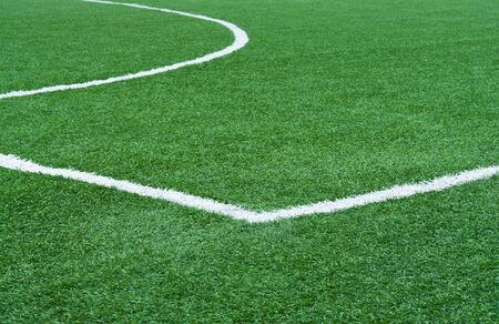 offside: Part of football field with lines marking.