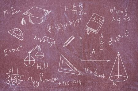 Blackboard chalk painted with formulas, equations and school tools. photo