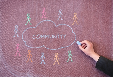Hand drawing chalk on blackboard concept cloud and people. Stock Photo