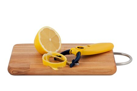 Lemon peel and cut with knife for cleaning fruits isolated on white background.