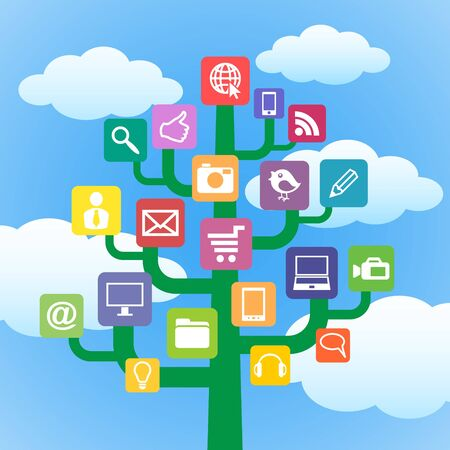 pictogrammes: Tree with icons gadgets and computer symbols  Internet concept  Illustration