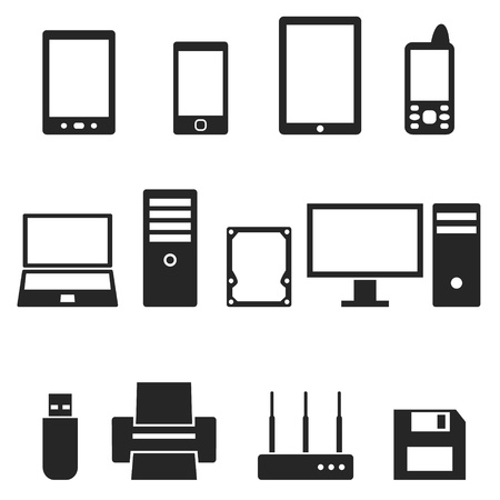 Icons of computer hardware and gadgets  Illustration