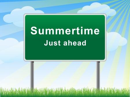 just ahead: Summertime just ahead billboard on background sun beams