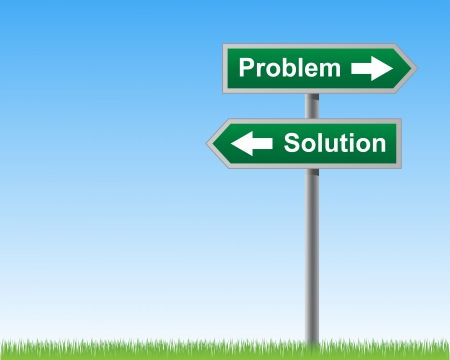 pointing herbs: Problems and solutions road sign  Illustration