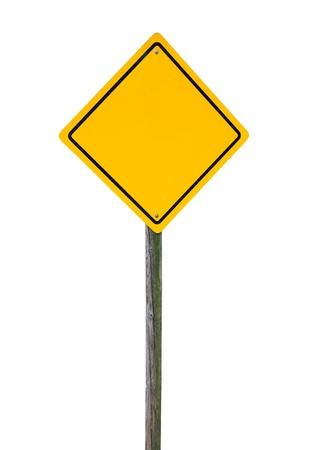 Blank gelben Schild auf Holzpfosten isoliert. Standard-Bild - 16514674
