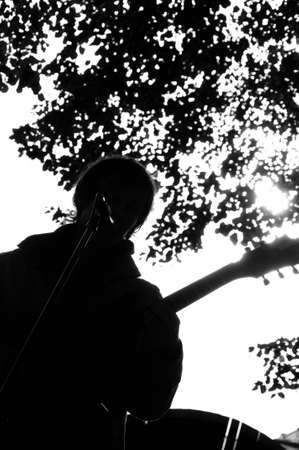 musician silhouette: Silhouette of Silhouette of musician with a microphone playing guitar with a microphone playing guitar.