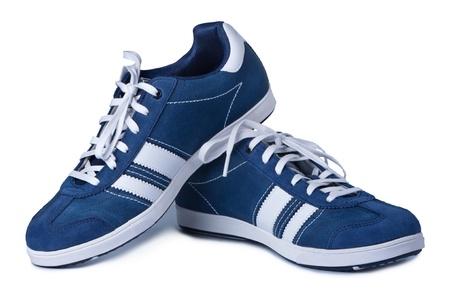 Pair of stylish shoes isolated on white background photo