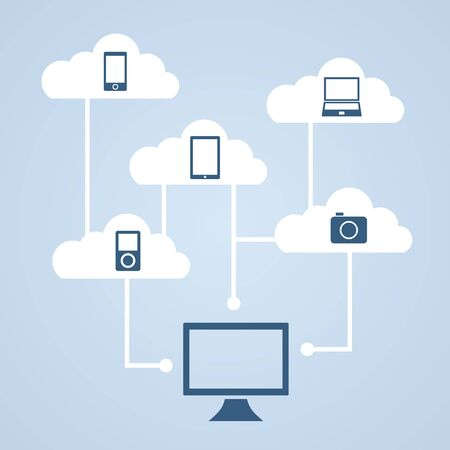 data synchronization: Concept cloud storage and data synchronization of music, photos, video and other files. Stock Photo