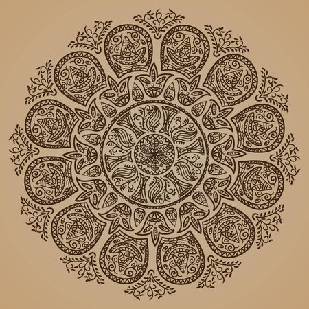 Abstract ornamental round floral pattern vector, handmade lace. photo