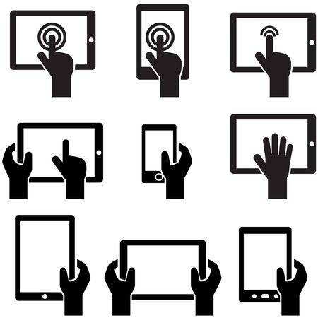 hand touch: Icon set tablets and gadgets with touch-screen display held in hand