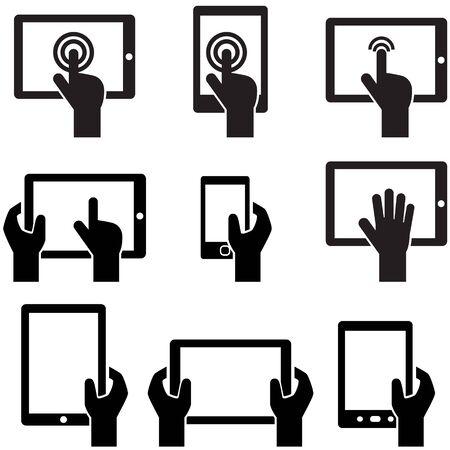 dotykový displej: Tablety a gadgets ikona s dotykovým displejem držené v ruce Reklamní fotografie