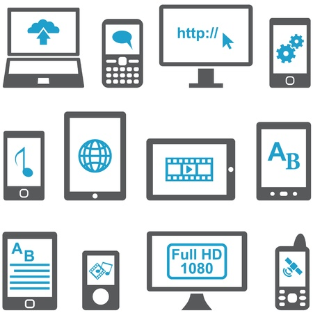 pictogrammes: Icons set computers and mobile devices vector. Multimedia concept.
