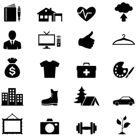 Icons set simple black vector photo