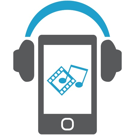 Smartphone with headphones. Concept of mobile entertainment and multimedia. Stock Photo - 16999612