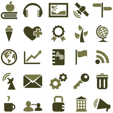 Set of vector symbols and icons in olive color. Stock Photo - 16999630