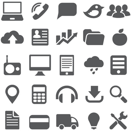 Set gray simple vector icons for web design. photo