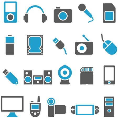 storage device: Set vector icons electronics and gadgets. Signs can be used as buttons for web design, and for other purposes.