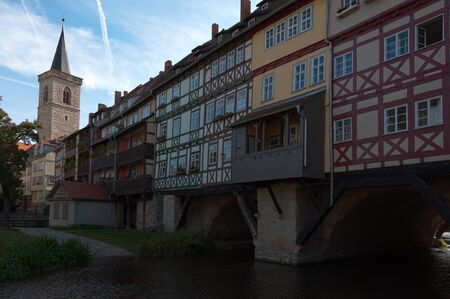 Houses on the shopkeepers bridge Erfurt, Germany. Popular tourist destination.