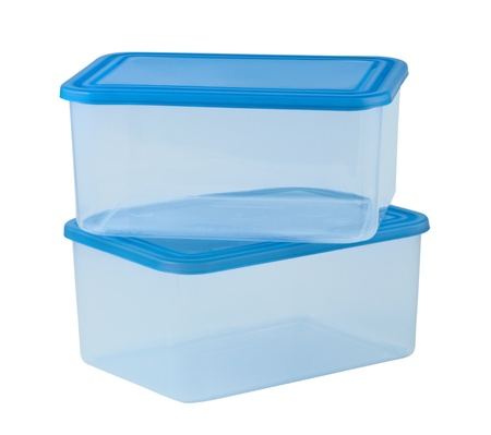 tupperware: Plastic container for food isolated on white background Stock Photo