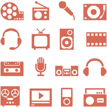 Icon set of gadgets and devices in a retro style  File in EPS10 format, that can be scaled to any size without loss of quality  Stock Vector - 17628800