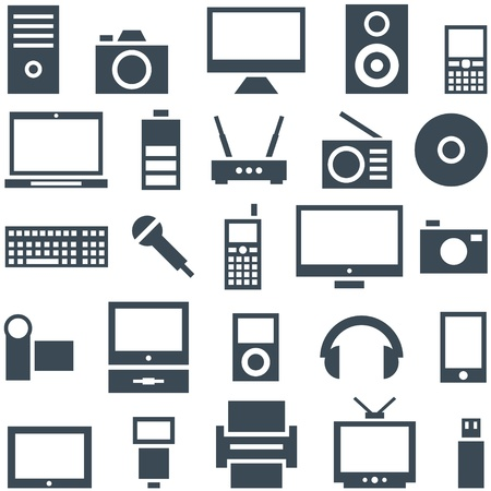 devices: Icon set of gadgets, computer equipment and electronics  Illustration