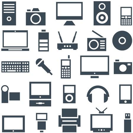 Icon set van gadgets, computer-apparatuur en elektronica
