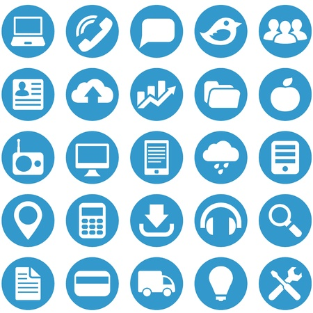 pictogrammes: Icons for the layout and design website in blue circle