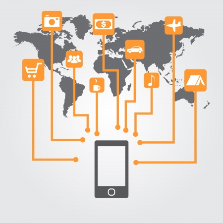 Smartphone with icons on the world map  Management concept with a mobile device