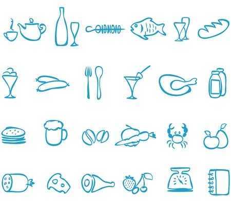 trabajo manual: Establezca trabajo hecho a mano iconos alimento, que se puede escalar a cualquier tama�o sin p�rdida de calidad Vectores