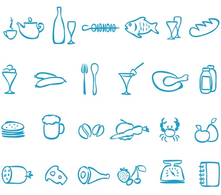 crab pots: Set  handwork icons food   , that can be scaled to any size without loss of quality  Illustration
