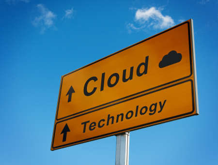 Cloud technology road sign. Concept of cloud storage. photo