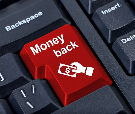 refunds: Money back button with hand and money.