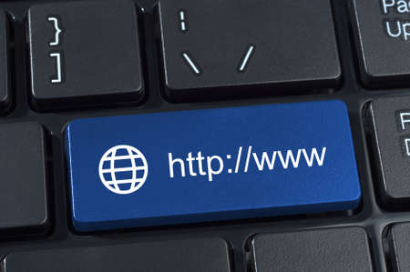 http  www: Keyboard button with Internet address http www and globe icon.