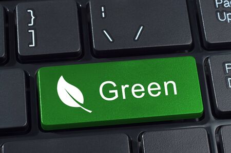 keypad: Green button keyboard with icon leaf. Ecology and environment concept.