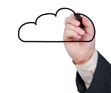 Hand with marker draws a cloud on white background. Concept of cloud computing or weather. Stock Photo - 18281472