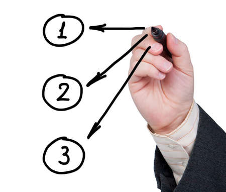 other keywords: Hand with marker pen drawing arrows with numbers in circles on a white background. Stock Photo