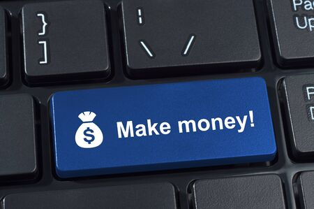 money button: Make money button with icon sack and dollar sign. Internet concept earnings.