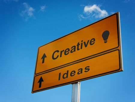 new direction: Road sign creative ideas with icon lightbulb.