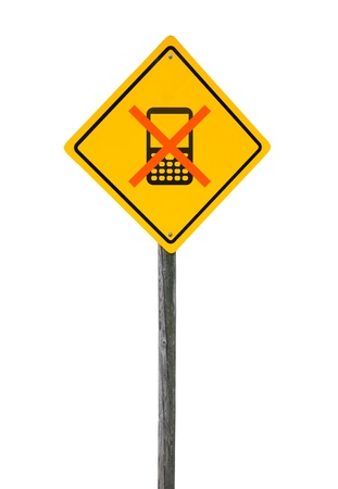 banning: Slashed mobile phone on yellow road sign isolated white background. Concept banning use mobile communication.