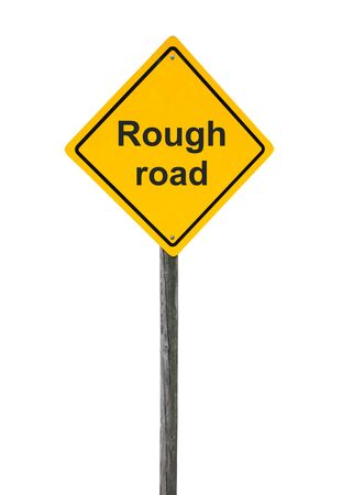 Rough road sign isolated on white background. Stock Photo - 18281474