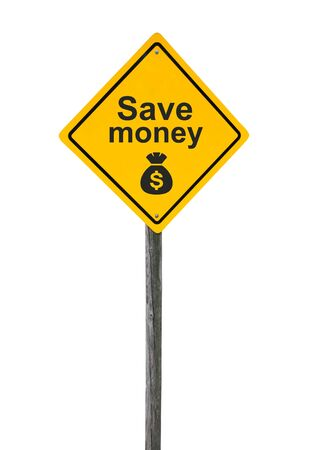Save money road sign with symbol sack dollar currency isolated on white background. photo