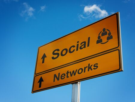 Social networks road sign. Concept interaction and cooperation people. photo