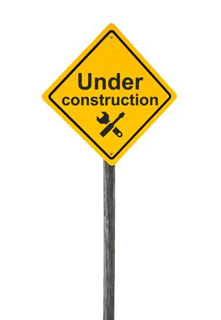 Under construction road sign with icon tools isolated on white background.