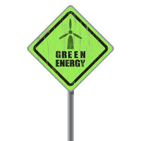 Green energy old scratched street sign Stock Vector - 18687440